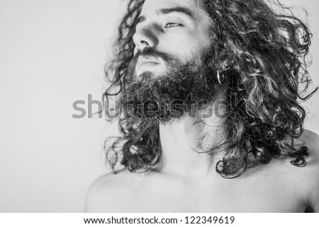 art portrait of handsome man, desaturated - stock photo