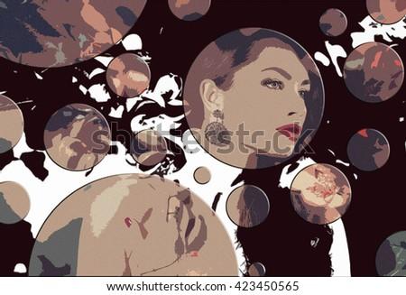 Art portrait of woman - stock photo