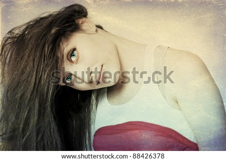 art portrait with beautiful young woman, vintage texture