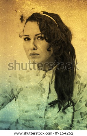 art portrait with beautiful young woman, vintage texture - stock photo