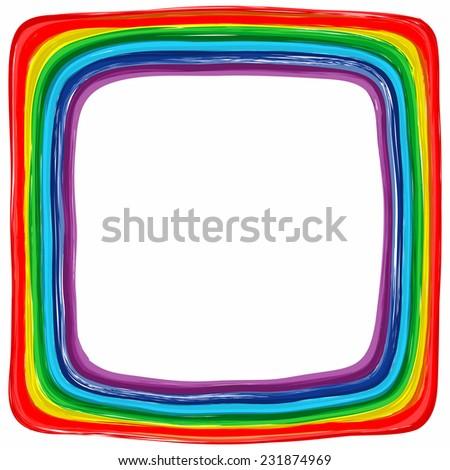 Art rainbow color frame abstract splash paint background - stock photo