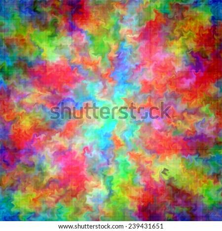 Art rainbow color paint splash art grunge abstract background on canvas - stock photo