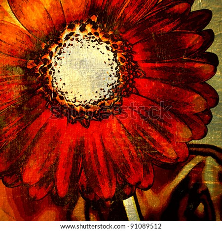 art red and gold floral grunge graphic background - stock photo