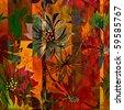 art red autumn floral grunge background pattern - stock photo