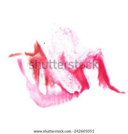 art Red, pinkwatercolor ink paint blob watercolour splash colorful stain isolated on white background