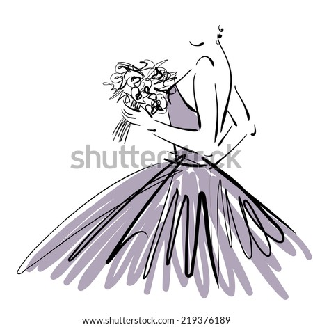 art sketch of beautiful young  bride with the bride's bouquet in profile isolated on white background - stock photo