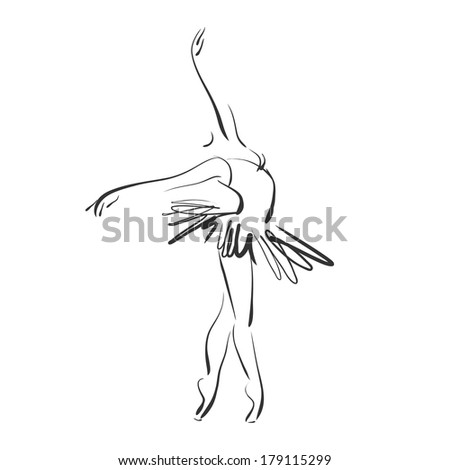 art sketched beautiful young ballerina in ballet pose on studio. Vector version is also in my gallery. - stock photo