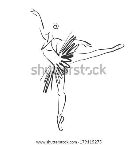 art sketched beautiful young ballerina in ballet pose. Vector version is also in my gallery.