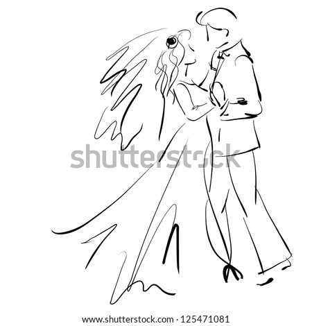 art sketching beautiful young  bride and groom in dance on white background. Vector version is also in my gallery. - stock photo