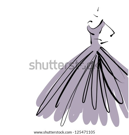 art sketching beautiful young  bride in violet dress with the bride's bouquet on white background.. Vector version is also in my gallery. - stock photo
