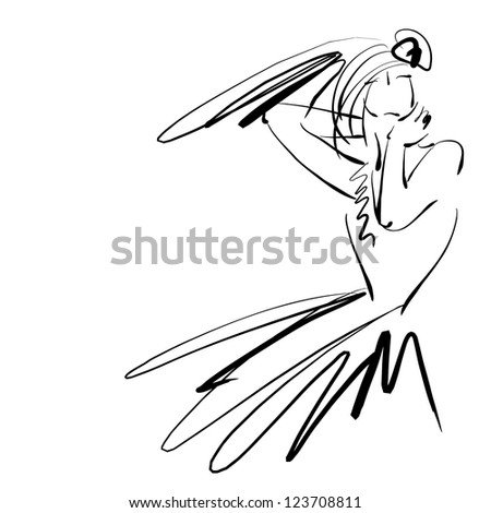 art sketching beautiful young bride on white background. Vector version is also in my gallery. - stock photo