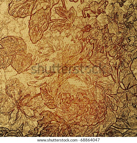 art sketching floral grunge sepia background - stock photo