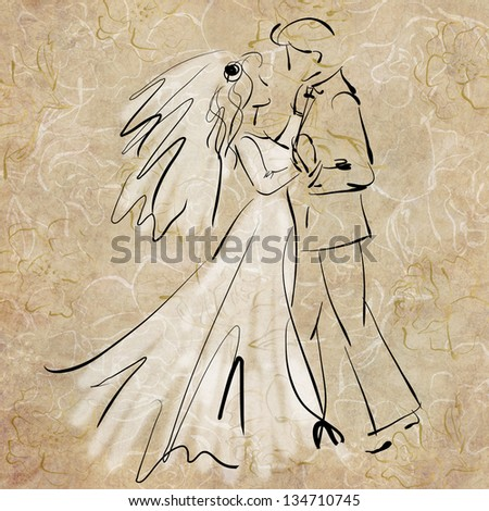 art sketching of beautiful young bride and groom in dance - stock photo