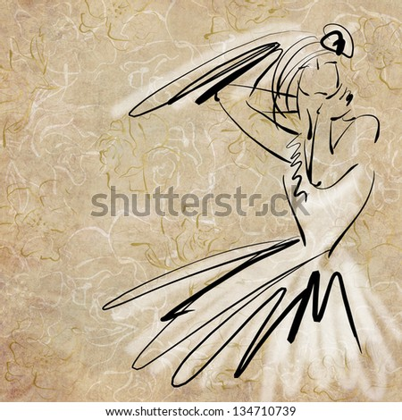 art sketching of beautiful young  bride in white dress on floral sepia background - stock photo