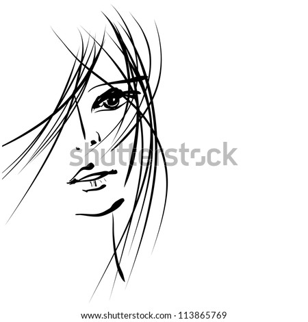 art sketching vector girl face  symbols. Vector version is also in my gallery. - stock photo