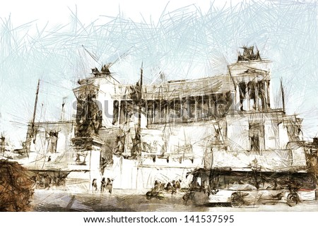 art sketching vintage background with european antique town, Italy, Rome, Capitol - stock photo