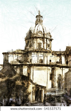 art sketching vintage background with european antique town, Italy, Rome, cathedral - stock photo