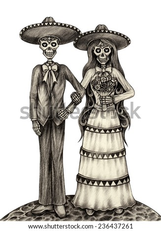 Art Skull Day of the dead. Hand drawing on paper. - stock photo