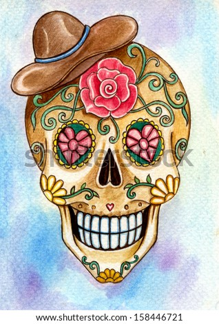 Art skull day of the dead. Hand painting watercolor on paper. - stock photo