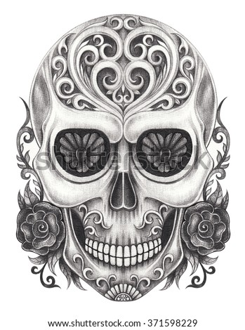 Art Skull  day of the dead.Hand pencil drawing on paper. - stock photo