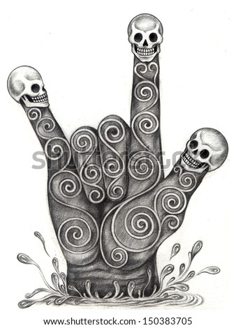 Art skull hand symbol love. Hand drawing on paper. - stock photo