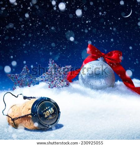 art snow christmas background;  new years eve - stock photo