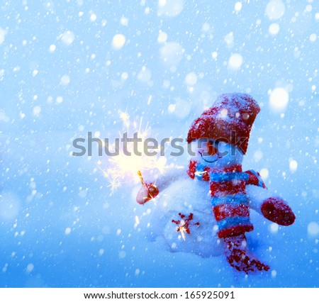 art Snowman Christmas card  - stock photo