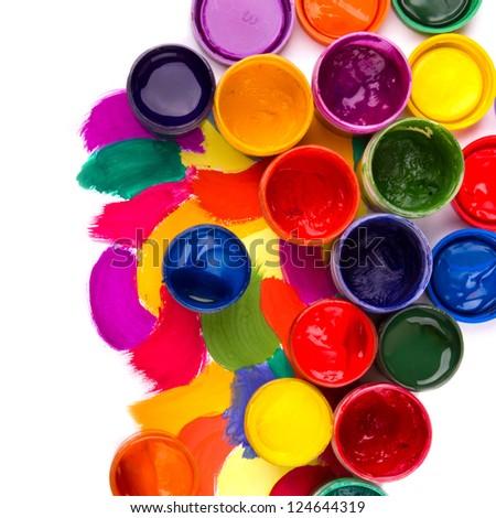 art studio paints, palette - stock photo