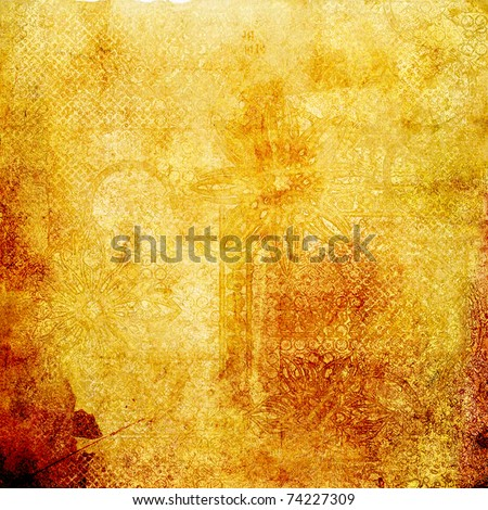 art stylization floral ornamental grunge background in golden and brown colors - stock photo