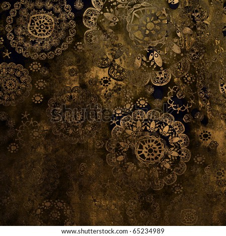 art stylization floral ornamental pattern, grunge  brown background - stock photo