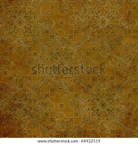 art stylization floral pattern, abstract grunge golden background - stock photo