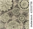 art stylized black floral ornament pattern on paper textured background - stock photo