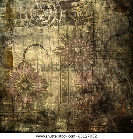 art stylized floral ornamental grunge brown background - stock photo
