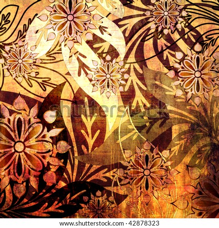 art stylized floral pattern grunge background in brown, red, orange, gold, yellow, black and white colors - stock photo