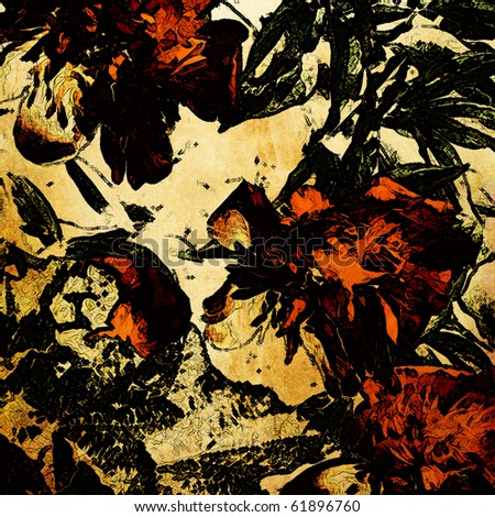 art stylized graphic floral grunge background in orange red, green, gold and black colors - stock photo