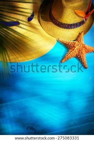 art  summer Beach. Beach scene with blank book - stock photo