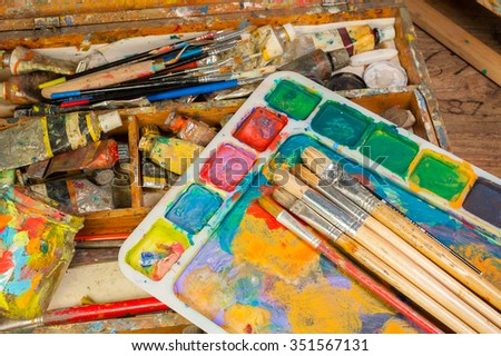 Art supplies and painting art brushes - stock photo