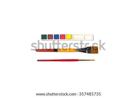Art supplies isolated on white - stock photo