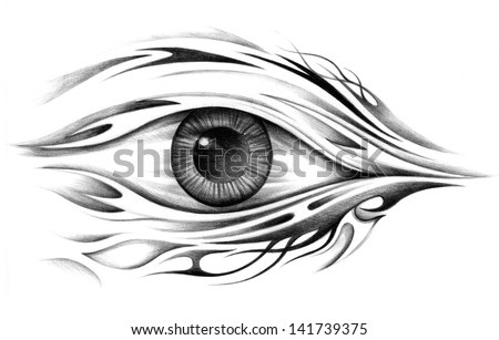 Art surreal eye tattoo drawing on paper stock photo for Drawing tattoos on paper