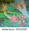 Art thai painting about the birth of Buddha on wall in temple. - stock photo