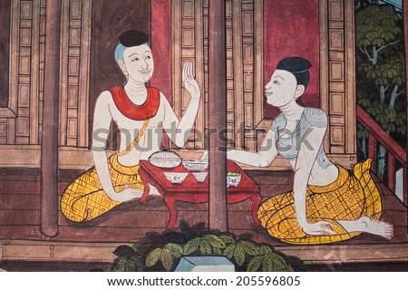 "Art thai painting on wall in temple ""wat ph ra kaeo"" Bangkok Thailand Living in Thai - stock photo"