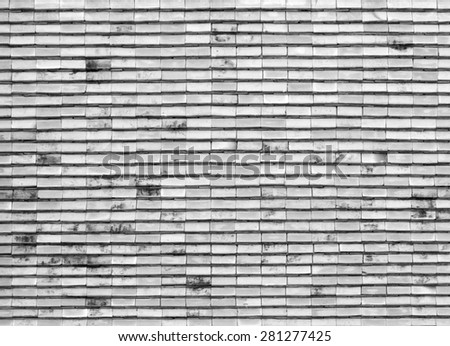Art tile roof at Thai temple, monochrome, white and black color for background - stock photo