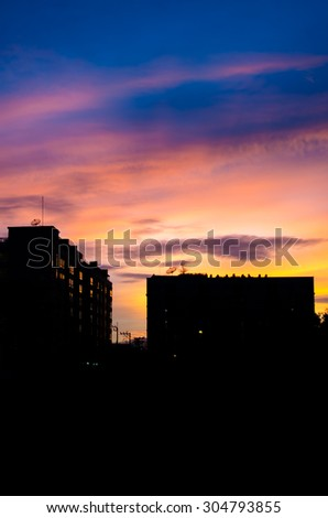 art tone,soft focus of building silhouette at sunset background - stock photo