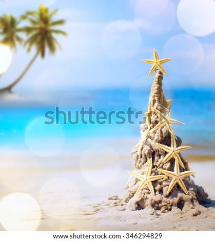art tropical Christmas holiday - stock photo