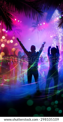 Art tropical night beach party - stock photo