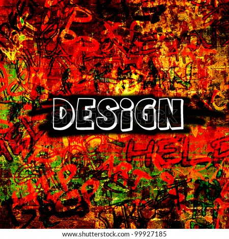 art urban graffiti raster background in bright red color