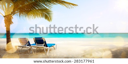 art vacation on the sea, background - stock photo