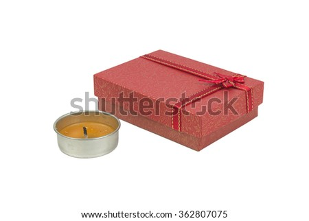 Art Valentine Day Gift box with red heart and roses on white background.