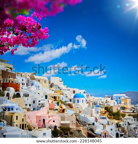 art view of Fira town - Santorini - stock photo