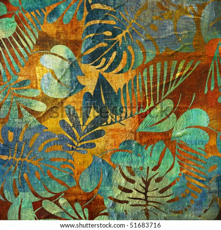 art vintage autumn golden floral watercolor background with big green blue leaves - stock photo